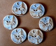 Moon over Cedars stoneware button by beadfreaky