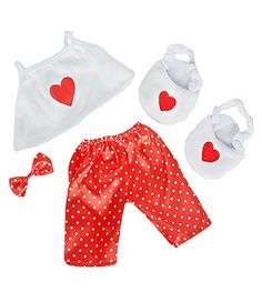 """Bea White Satin Ballet Slippers with Rose Fits Most Stuffed Animals 14/"""" to 18/"""""""