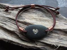 Scottish Sea Pebble Carved Heart Bracelet by byNaturesDesign, $15.00