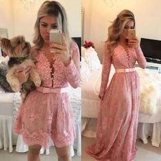 Fashion Two in One Prom Dress, Lace Prom