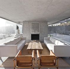 """- Design Interiors Architecture (@thelocalproject) on Instagram: """"Concrete, leather & timber! Horizon House by Undurraga Deves Arquitectos Located in Chile """""""