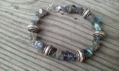 Labradorite Stone and Sterling Silver Bracelet by smisko on Etsy