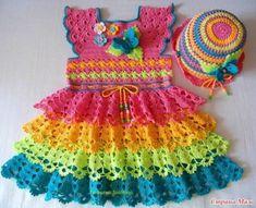 vestidos de crochet para bebe de colores