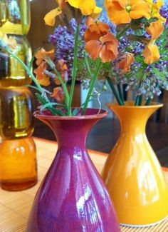 Little Shirley vases, flowers from the garden.