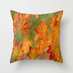 Falling Leaves - Autumn Throw Pillow by Judy Palkimas - $20.00