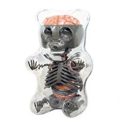 Gummi Bear Anatomy : Grey - This exciting scientifically-accurate model of gummi bear's insides will enlighten and brighten anyone's day. Each Gummi Bear includes a removable skeleton puzzle with up to 41 pieces. Fun for the whole family!<p>Jason Freeny is a New York-based artist, specializing in anatomical toy sculptures and computer-generated imagery. For his sculptures, he chooses novelty toys and creates a system of organs and bones using sculpted foam. On the process of choosing his…