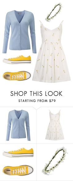 """""""Flower Power"""" by carrieveland ❤ liked on Polyvore featuring Converse and Emily Rose Flower Crowns"""