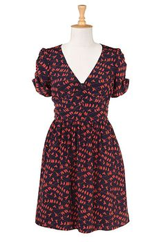 the birds who gossip dress. navy/rust $69.95 regular to plus sizes with a custom sizing option