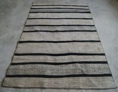 Black Striped Kilim Rug  Modern Patchwork Rug  by RugToGo on Etsy