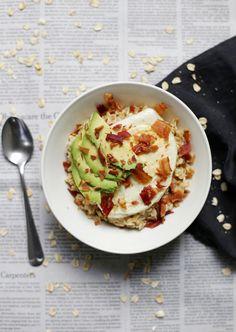 Egg, Avocado & Bacon Oatmeal | @themerrythought