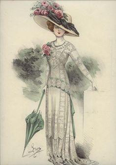 L'ART ET LA MODE engravings 1910-1912 ... date provided by eBay seller 1900s Fashion, Edwardian Fashion, Vintage Fashion, Moda Vintage, Historical Costume, Historical Clothing, Edwardian Gowns, Vintage Dresses, Vintage Outfits