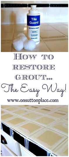 How To Restore Grout-Right the easy way. I found this little bottle of Tile Guard at a local home improvement store. Since the price was right, under $5.00, I picked it up. It's been sitting in the cupboard under my sink for months. If I had known how easy it would be I would have tackled this job a lot sooner