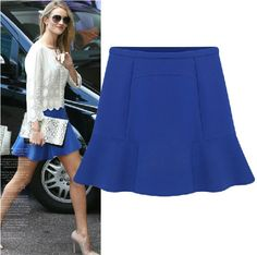 Aliexpress 2014 New Fashion Women Spring Summer Autumn OL Blue Solid Chiffon Ladies Bust Short Skirt S M L XL XXL € 8,90