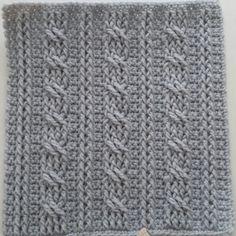 Crochet Cables Square 1: Bars & Twists part 1; rows 1-4