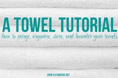 Make laundering and organizing your towels easier! Towel Tutorial via Clean Mama Homemade Cleaning Supplies, Household Cleaning Tips, House Cleaning Tips, Diy Cleaning Products, Cleaning Solutions, Cleaning Hacks, Laundry Solutions, Apartment Cleaning, Diy Cleaners