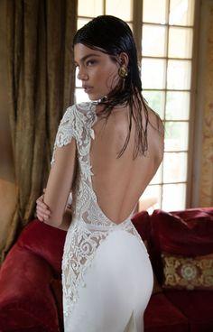 Berta Bridal 2015 Spring Summer V-neck Backless Romantic Appliques Lace Chiffon Mermaid Wedding Dresses Long Sleeves  Tr-W0262