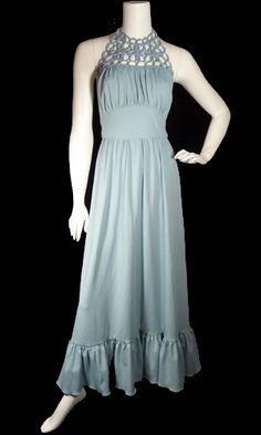 Vintage 1970's  Blue Halter Dress