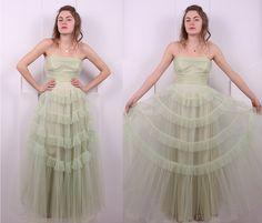 Jahrgang 1950 Mint Grün Tüll Prom Kleid von houseofprettyparlor