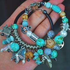 Морской браслетик из натуральных камней.Авторская работа.дизайнерский браслет бирюзового цвета