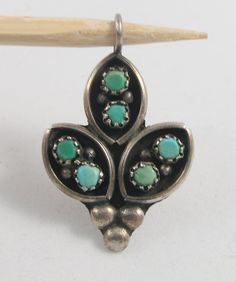 Delicate Stylized Zuni Floral Flower Silver Sterling & Turquoises Pendant by Framarines on Etsy
