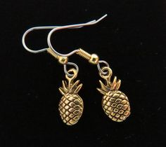 Pineapple Earrings 24 Karat Gold Plate They Mean Welcome Friendship Hospitality Hawaii Tropical Holiday Hostess Housewarming Gift EG577 by NostalgicCharm on Etsy