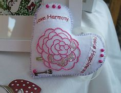 WhiteHand made Fabric Heart Flower beads Key Valentine or anytime by Anita £5