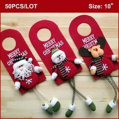 50 PCS de natal apoio maçaneta, 10 polegada, Natal decoração de natal porta cabides decoração - Santa boneco rena 3