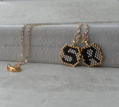 Triangle Beaded Gold Necklace, layered Personalized Initial Necklace, Boho Gold filled Necklace, Triangle charm Personalized Jewelry I created this beautiful unique design Pendants layered necklace set with beaded handmade letter by peyote technique, the shorter layer chain 16 inches and the