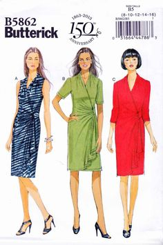 Butterick Sewing Pattern 5862 Womens Plus Size 18W-24W Pullover Knit Mock Front Wrap Dress   Butterick+Sewing+Pattern+5862+Womens+Plus+Size+18W-24W+Pullover+Knit+Mock+Front+Wrap+Dress
