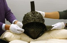 A gladiator's helmet left behind in the ruins of Pompeii
