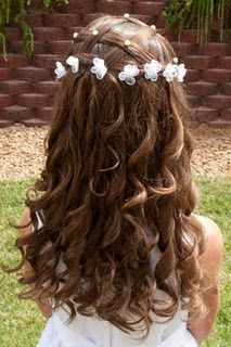 Special occasion hairstyle, criss-cross, curls, pearls and flower clips