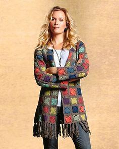 Crochet Ole Cardigan Oh wait. Crochet Dress Outfits, Black Crochet Dress, Crochet Coat, Crochet Jacket, Crochet Cardigan, Love Crochet, Crochet Clothes, Crochet Granny, T Shirt Yarn