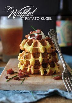 Waffled potato kugel.