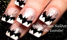 I am presenting before you 15 Halloween bat nails art designs & ideas of 2016 that you will love to apply, don't settle for big salons, try these nail art designs, they are so simple and yet so easy to be done by your own self. Cute Halloween Nails, Halloween Acrylic Nails, Halloween Nail Designs, Diy Halloween, Halloween Parties, Halloween Tutorial, Pretty Halloween, Halloween Witches, Nail Bat