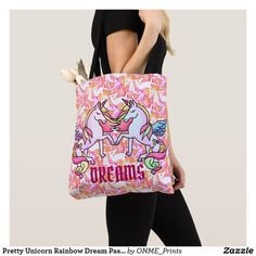 Shop Pretty Unicorn Rainbow Dream Pastel Pegasus Tote Bag created by ONME_Prints. Shopping Bag Design, Shopping Bags, Majestic Hair, Pegasus, Rainbow Colors, Purple, Pink, Unicorn, Reusable Tote Bags