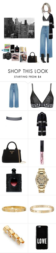 """V I B E S"" by mija-lee ❤ liked on Polyvore featuring Rachel Comey, Versace, Giuseppe Zanotti, Helene Berman, Prada, NYX, Yves Saint Laurent, Rolex, Cartier and Maison Margiela"