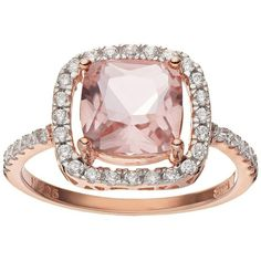 Cubic Zirconia 14k Rose Gold Over Silver Halo Ring (Pink) ($20) ❤ liked on Polyvore featuring jewelry, rings, pink, silver cz ring, 14k ring, pink cz ring, silver rings and cz rings