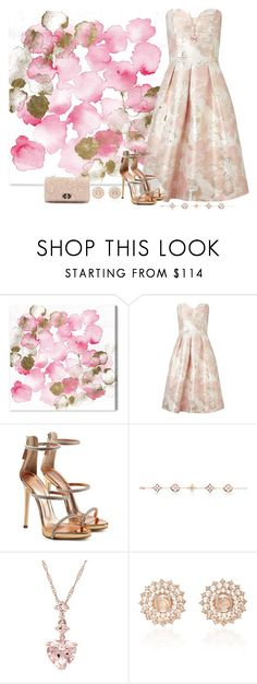 """""""Pink and Gold"""" by freida-adams ❤ liked on Polyvore featuring Oliver Gal Artist Co., Miss Selfridge, Giuseppe Zanotti, Nam Cho and Valentino"""