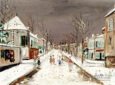 Maurice Utrillo Street In Villejuif In The Snow oil painting reproductions for sale