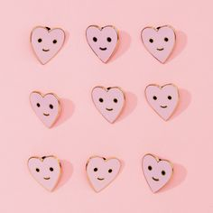 blush pink herbie the happy heart enamel lapel pin, by valley cruise press