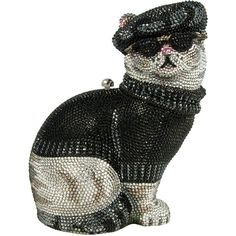 Judith Leiber Couture Crystal Beatnik Cat Minaudiere ($5,940) ❤ liked on Polyvore featuring bags, handbags, clutches, cats, filler, purses, jet multi, clasp purse, cat handbag e crystal clutches