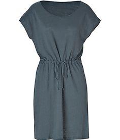 Majestic | Blue Steel Drawstring Linen Dress