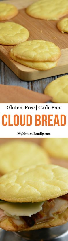 LOW CARB - Cloud Bread Recipe {Gluten-Free, Carb-Free} - This is really simple to make but has tons of uses. I love that I can finally eat bread again on my low carb diet! Carb Free Recipes, Diabetic Recipes, Cooking Recipes, Bread Recipes, Snack Recipes, Cooking Ingredients, Potato Recipes, Carb Free Foods, Casserole Recipes