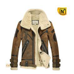 Men's Sheepskin B-3 Bomber Jacket CW877168 Warm sheepskin B-3 bomber jacket for men, cool winter sheepskin leather jacket! Best genuine sheepskin leather with lamb fur lining B-3 bomber jacket, vintage elements and dimensional badge well show men's culture taste.