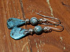 Turquoise Azurite and Pyrite Earrings by KymHunterDesigns on Etsy