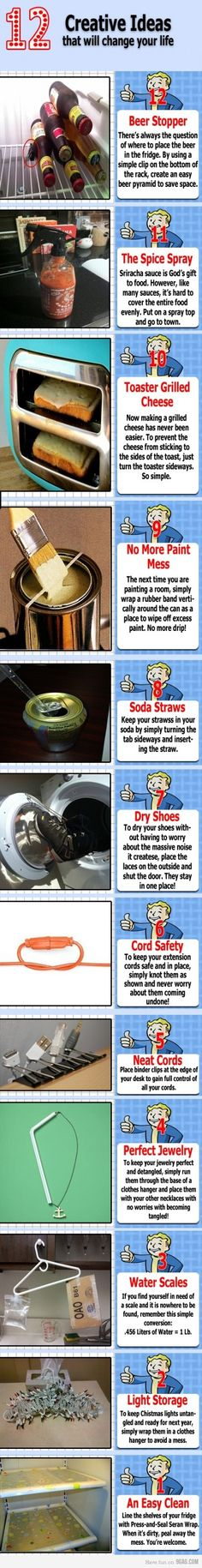 Life Hacks, I especially like the idea about using press-and-seal wrap on the fridge shelves