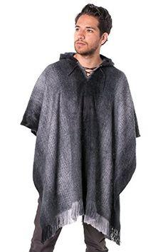 Gamboa Alpaca Poncho - Hooded Dark Gray (Gray)