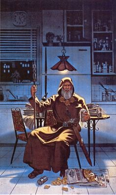 Walk into your kitchen at 3am and this wizard is waiting for you, having drunk your beer and sampled, but disliked, your potato chips, hasn't done the dishes, and he isn't happyWhat do you do?