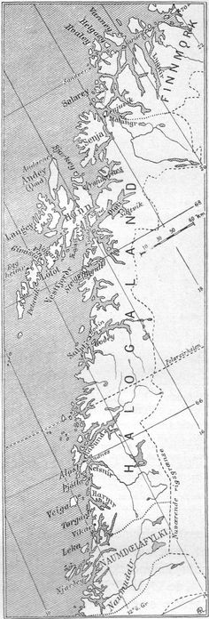 Map of northern Norway in the viking age, with Norse names. 1910