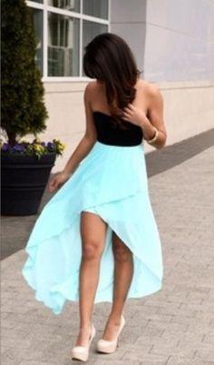#black #blue #highlow #skirt
